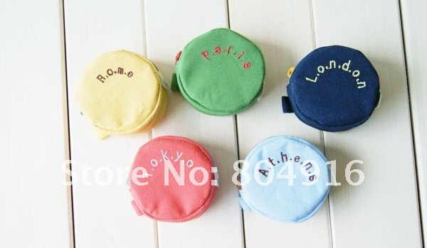 3dc4ad8a5 ... Fashion Round Shaped Around the World Canvas Change Coin Purse Bag  Pouch Case 5 colors ST0646 ...