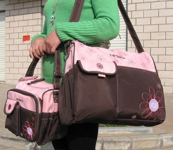 f6388b821b1fd Free Shipping 4Pcs Set Carter s Women s Mummy Baby Diaper Nappy Bag Mother Handbag  Brown