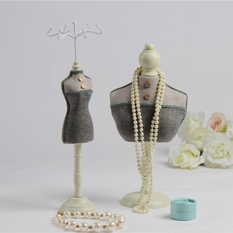 DIY Blue Ash Linen Mannequin Doll Display Rack 12 Tall Jewelry
