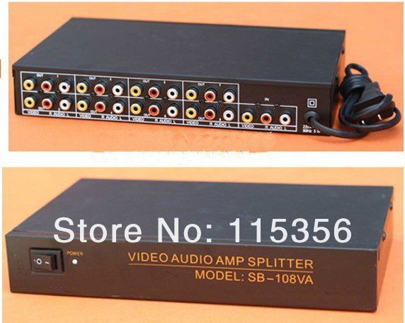 US $47 99 |free shipping 1 IN 8 OUT 108VA 8 Port RCA Audio Video AV  Distribution Amplifier Splitter for TV DVD LCD-in Connectors from Lights &