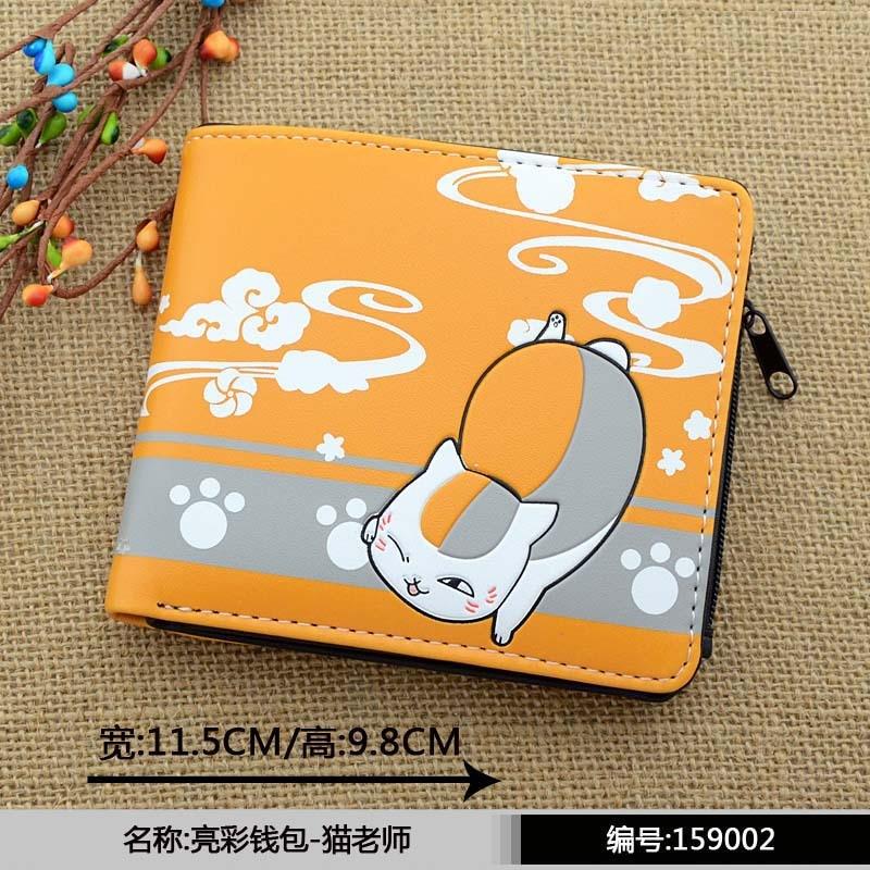 Anime Natsume yuujinchou PU Short Wallet with zipper printed w-Nyanko Sensei natsume yuujinchou cool pu anime nyanko sensei wallet long style purse with zipper