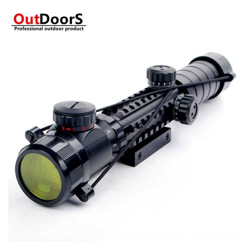 Shipping Free 3 9x32EG Tactical Riflescope Red Green Illuminated font b Rangefinder b font Reticle Shotgun