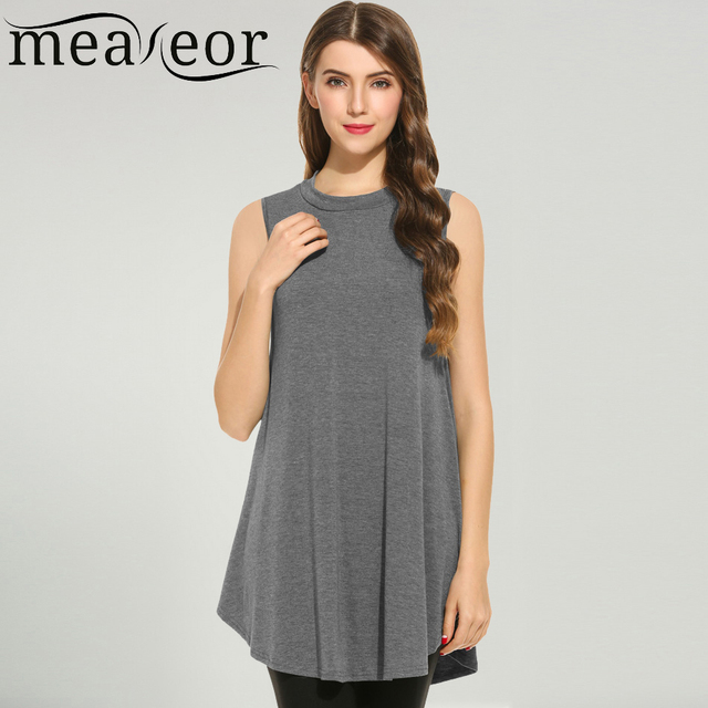 e0ee3524f4269c Meaneor Brand Women Tops New Fashion Spring Autumn O-Neck Sleeveless Solid Casual  Loose Fit Feminino Swing Tunic Top 4 Colors