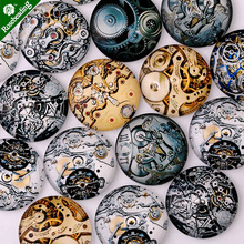 20pcs 25 mm Steampunk gear Pattern Round Glass Cabochon,watch gear-10070449