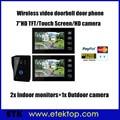 """2.4GHz 7""""LCD Wireless Video Door Phone One To Two Doorphone Intercom MIC Picture Taking Access Control Door phone"""