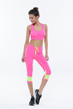 Female Sport Fitness Sets Bra+Pants Body Building Suit Ladies Yoga Clothing For Gym Running Sportwear Suit Leggings+Tops 1Set