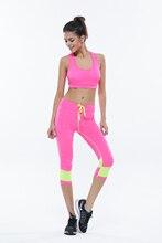 Female Sport Fitness Sets Bra+Pants Body Building Suit Ladies Yoga Clothing For Gym Running Sportwear Suit Leggings+Tops 1Set