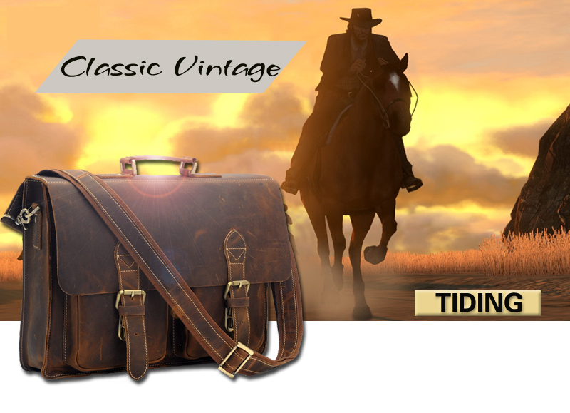 UT87 eBXoJaXXagOFbX4 Top Grade Male Men's Vintage Real Crazy Horse Leather Briefcase Messenger Shoulder Portfolio Laptop Bag Case Office Handbag 1061