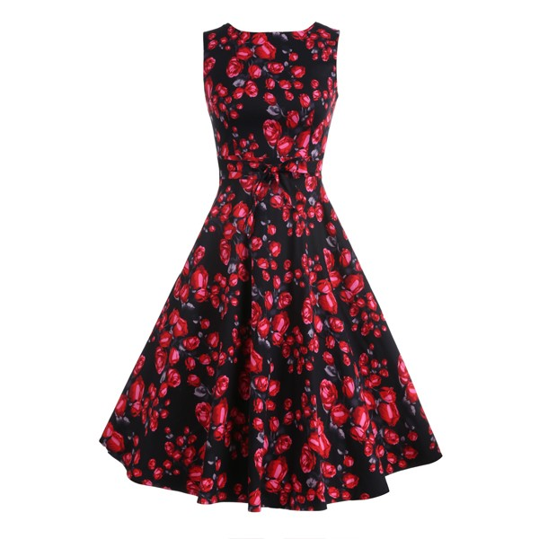 ACEVOG Women Dress Retro Vintage 1950s 60s Rockabilly Floral Swing Summer Dresses Elegant Bow-knot Tunic Vestidos Robe Oversize 37