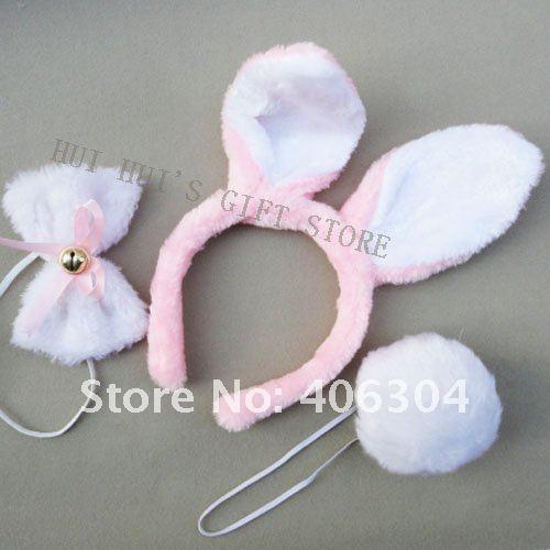 8 компл./лот пасхальное украшение/заячьи ушки/Банни Ушная повязка/кролик набор для ушей(повязка, бант, хвост