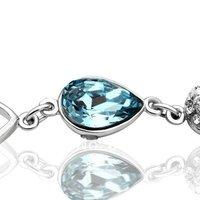 18kgp 18 к позолота горный хрусталь синий кристалл браслет подвески браслет ювелирные изделия