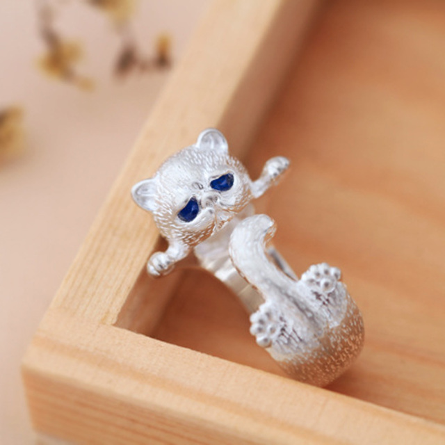 Lovely Silver Plated Cute Cat Ring