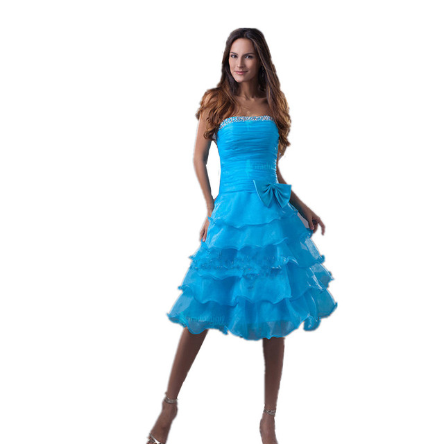 Azul curto Prom Vestidos Strapless Saia Em Camadas de Organza Graduação Vestidos Adolescentes com Beading Tamanho Personalizado