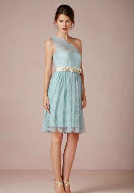 80bc411569 Cheap new arrival summer sky blue lace bridesmaid Gowns one shoulder with  ivory sash knee length A-line junior bridesmaid dress