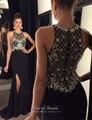 Momento eterno de La Sirena Vestidos de Noche Largo de Hendidura Lateral Con Cuentas de Cristal Gasa Vestido de Noche Formal Del Vestido GY007