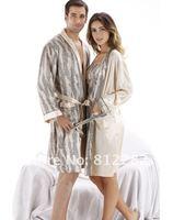 бесплатная доставка хиты продажи печатных шелковистой атласа пара халат ночная рубашка комплект 81 - 0009 т