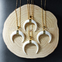 WT N536 Hot Sale Wholesale Natural Bone Horn Pendant With 24k Gold Electroplated Horn Necklace In