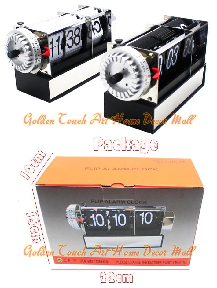 1 шт черный белый автоматический Флип Настольный Будильник для искусства дома и офиса декоративные Мини Настольные часы