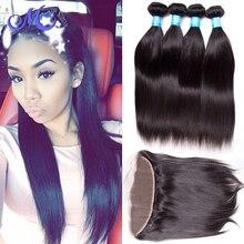 HOT Peruvian Virgin Straight Hair With Closure 4 Bundles With Frontal Closure Straight Bundle Human Hair And Closure Stema Hair