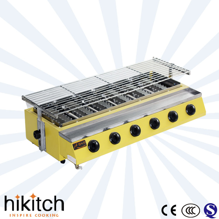 commercial stainless steel smokeless gas bbq countertop grill with burner cover