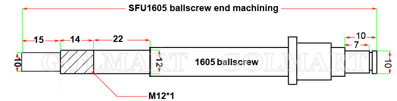 Ball Screw SFU1605 RM1605 1605 L 450mm Ballscrew End Machined with Ballnut CNC