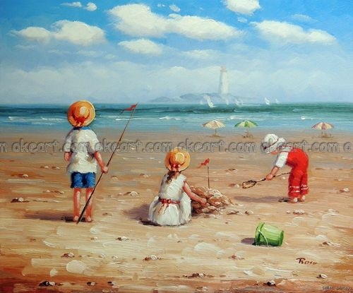 100 Hand Painted Children Kids Play Beach Sand Ocean Lighthouse Shovel Pail Oil Painting Free