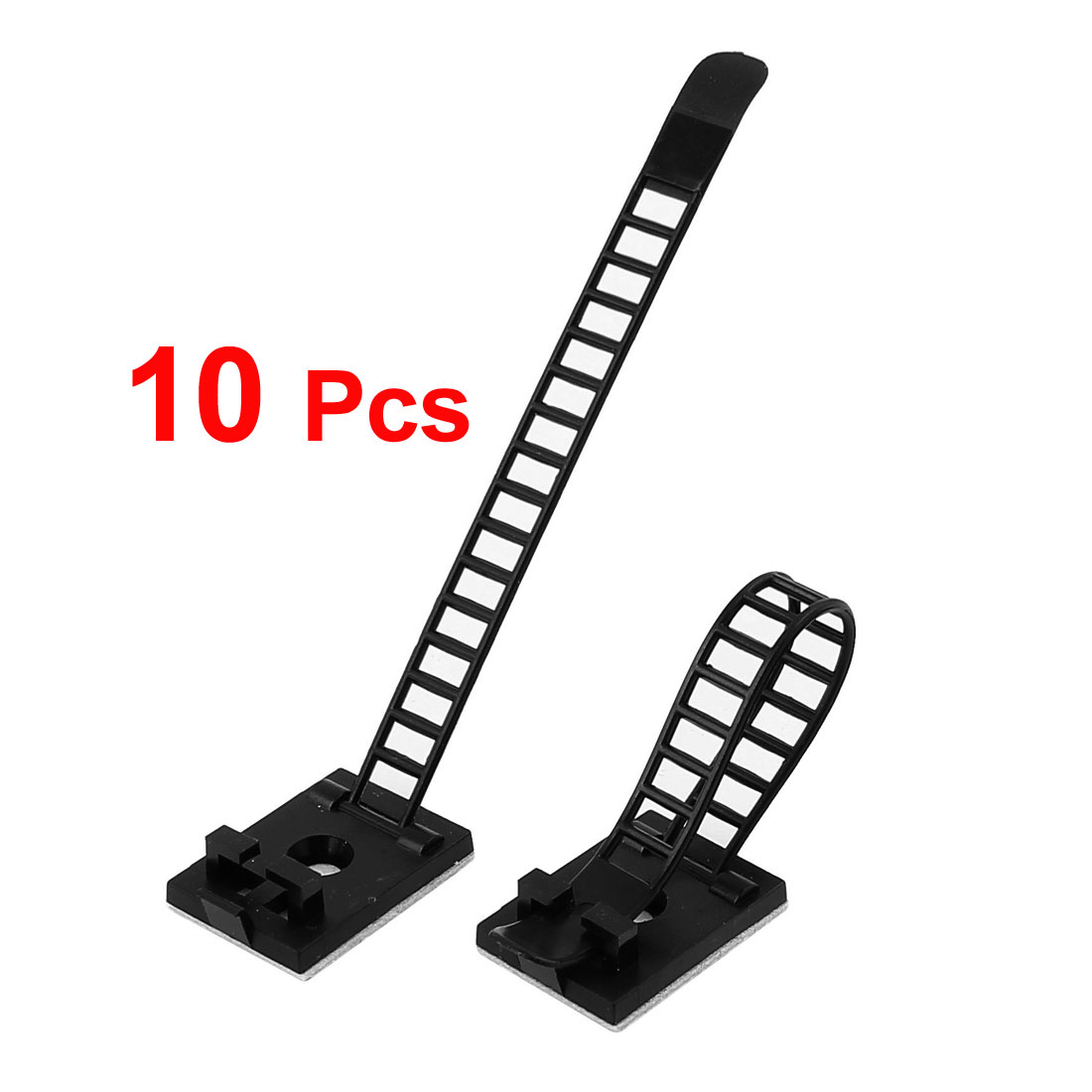 UXCELL 10 Pcs Self-Adhesive Backed Black Wire Clips Cable Clamp Adjustable Fixed Tie Mount