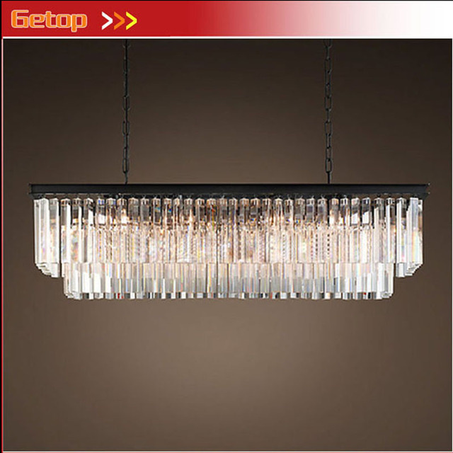 ZX American Country Art Retro K9 Crystal E14 LED Rectangular Chandelier 51W-60W Dining Room Living Room Bedroom Store Lamp