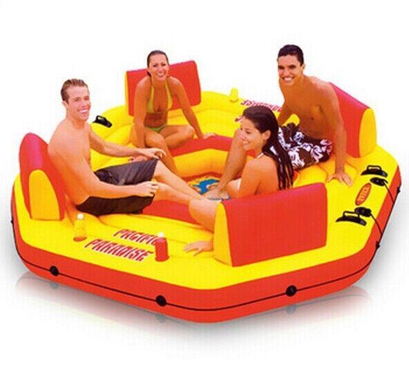 Воды поплавок 4 человек, надувной матрас для семьи вечерние, остров воды, водных видов спорта, размер 254*254*61 см,