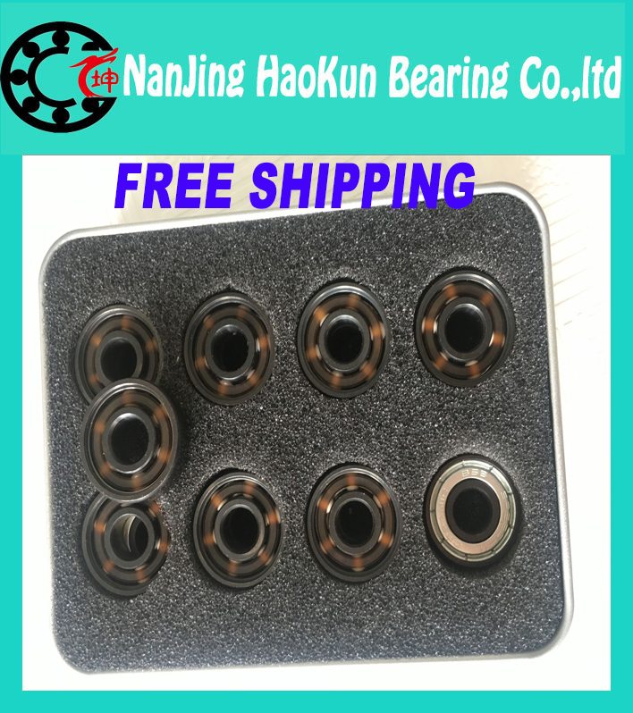 Подробнее о FreeShipping Black Ceramic inline speed skate bearings 608  FreeLine Skate bearing inline roller skate wheels bearings 608 2rs bosch 400мм speed 2 608 690 167