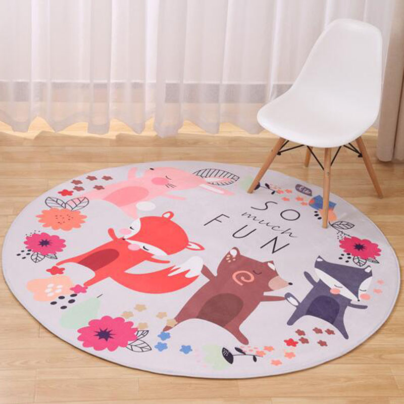 Flannel round carpet cartoon fox kids game mat non slip for Baby rooms decoration games
