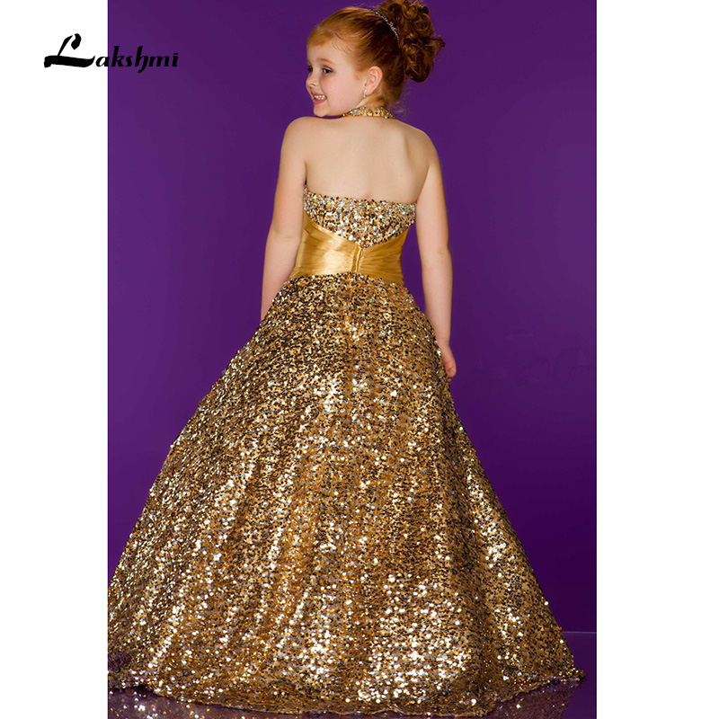 Gold 2016 girls dresses Pageant Halter ball gown Skins spark long ...