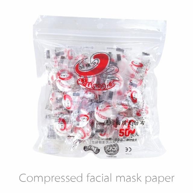 50 pz/pacco Pelle Cura DIY del Fronte Facciale di Carta Compressa Masque Maschera non tessuto Moneta compressa maschera per il viso, Maschera viso fatta in casa T16