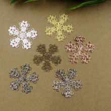 new arrvial 50pcs 34mm filigree wire warp charms for diy jewelry accessories-silver/gold/gun black/white k/rose goldcolor option(China)
