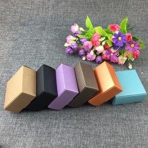 Image 3 - 50 Teile/los 6,5*6,5*3 cm Kraftpapier Geschenk Gemischte farbe Box Schmuck Displays Leere Paket Tragetasche Kraft Kästen Akzeptieren Benutzerdefinierte Logo