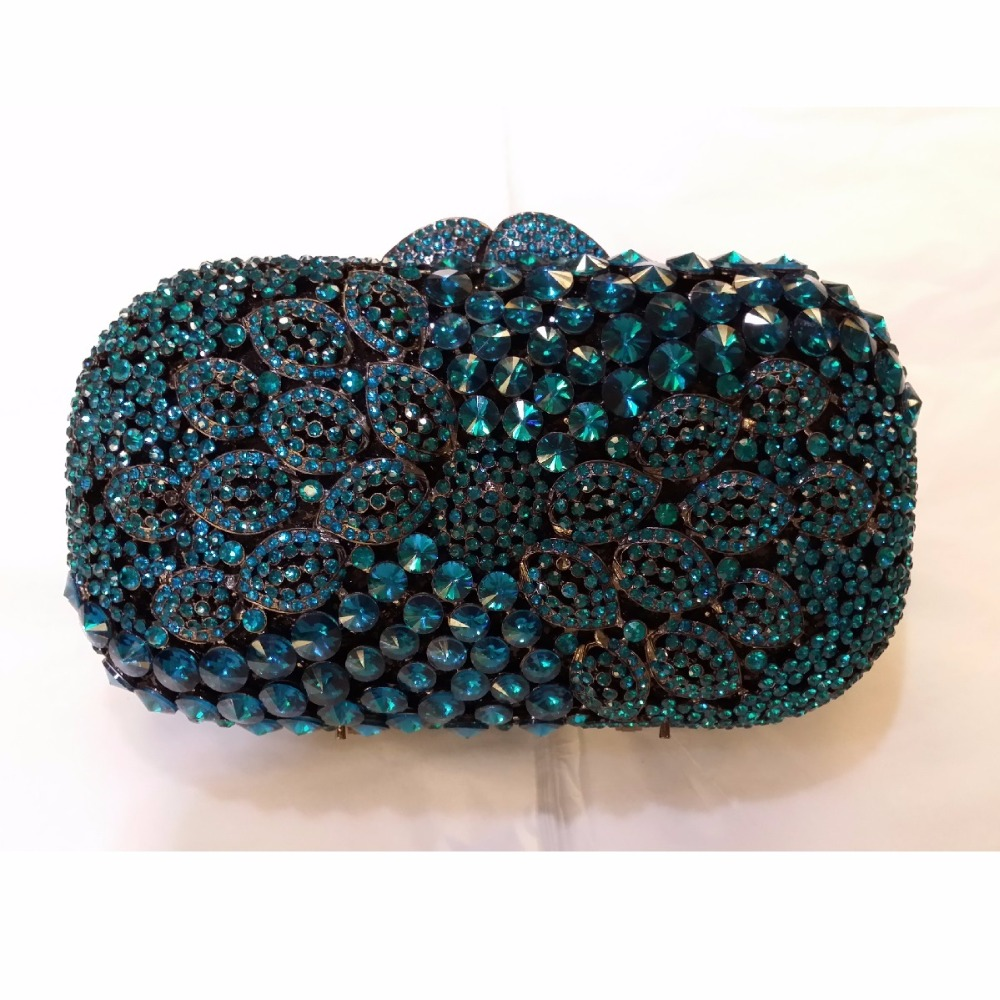 ФОТО 8364NY navy Crystal Lady Fashion Wedding Bridal Party Night hollow Metal Evening purse clutch bag box handbag case