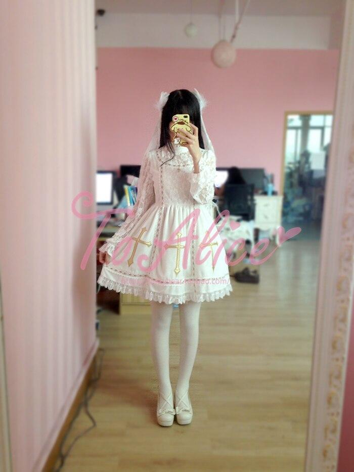 JSK robe Lolita maison Panda avec motifs de broderie croisée noir blanc