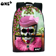 2016 ONE2 Дизайн королева череп шаблон пользовательские печатные женщины ноутбук рюкзак сумка полиэстер и нейлон рюкзак сумка бесплатная доставка