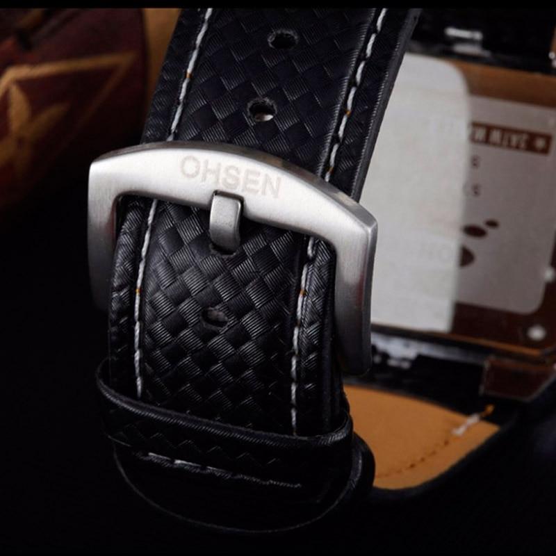 Ohsen Analog Quartz Digital Watch Mannen Handklok Waterproof Leather - Herenhorloges - Foto 5