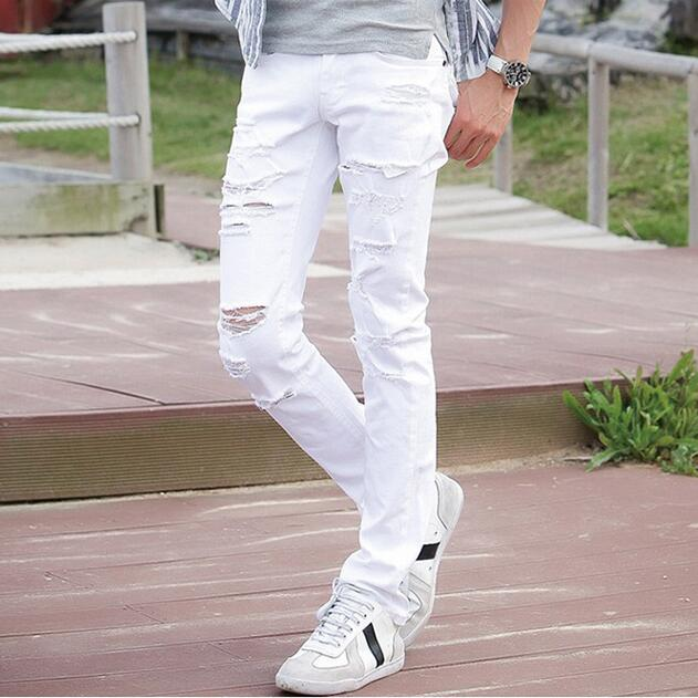 #1906 Spring 2016 Biker jeans White jeans men Fashion Slim Hip hop Skinny Korean Motorcycle Ripped jeans for men High quality