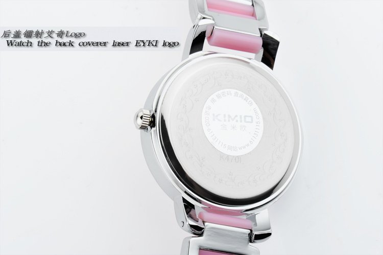 Drop Shipping Best Quality lady's KIMIO Pink Ceramic Stainless Steel Quartz Watch RQ2450