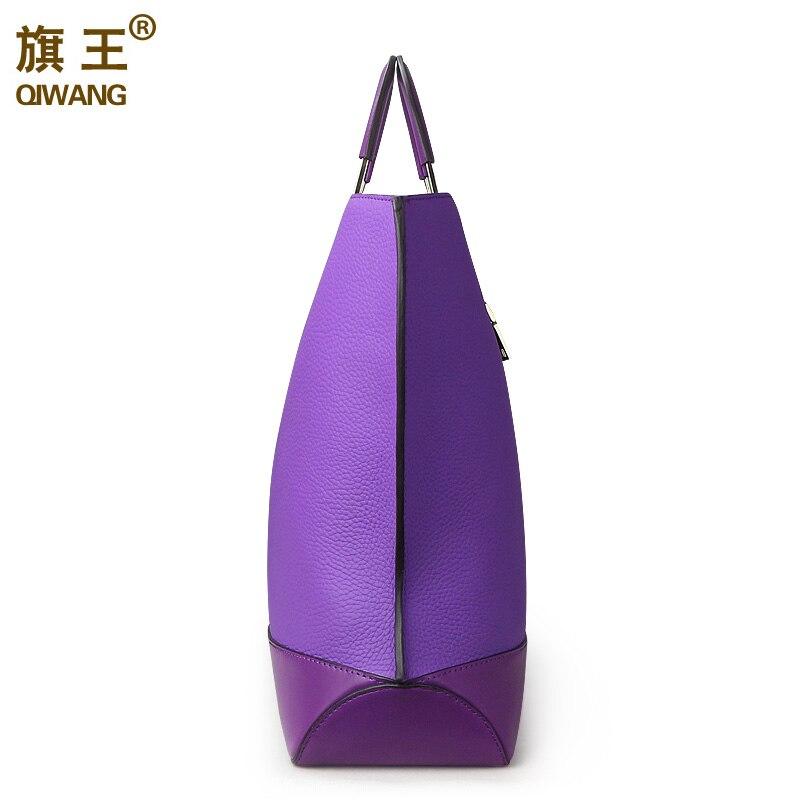 Qiwang pojemna torba tote Bag fioletowy marka europejska torebki damskie projektant prawdziwa skóra kobiety torebka pojemna torba na Laptop torebka godne w Torby z uchwytem od Bagaże i torby na  Grupa 3