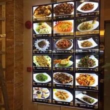 Настенный акриловый светодиодный дисплей для ресторана с подсветкой и панелью меню A4, магнитный светильник, коробки