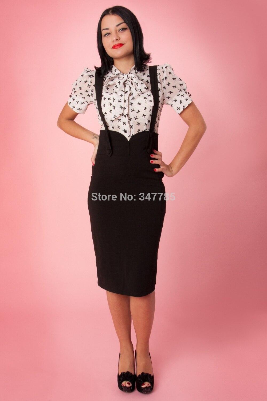 360bfa063c1 35- women vintage 50s agarva braces button up wiggle midi suspender pencil  skirt plus size