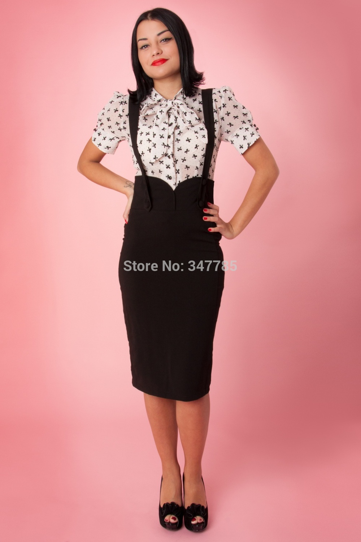 b4ace5d827bb3 US $34.44 35% OFF|35 women vintage 50s agarva braces button up wiggle midi  suspender pencil skirt plus size faldas pinup saia jupe jumper skirts-in ...