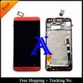Shipping + Tracking No. 100% probado para HTC uno M7 801e LCD montaje de la pantalla táctil con marco - rojo