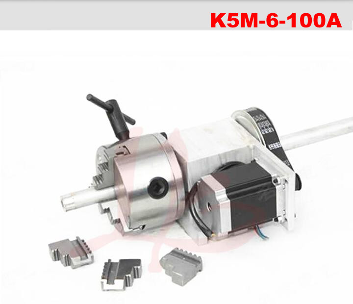 hollow shaft 3 Jaw 100mm chuck CNC 4th rotary Axis CNC dividing head best quality nema 34 stepper motor 4 1 k12 100mm 4 jaw chuck 100mm cnc 4th axis a aixs rotary axis tailstock for cnc router