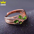 Lady Real diopside ring natural gemstone genuine solid 925 sterling silver woman jewelry rings