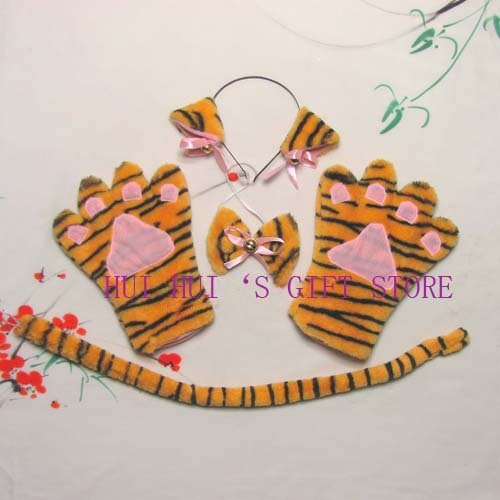 Дети для взрослых, косплей на Хэллоуин вечерние плюшевые животные набор леопард черный Кот Белый Кот повязка на голову, галстук-бабочка, хвост, перчатки
