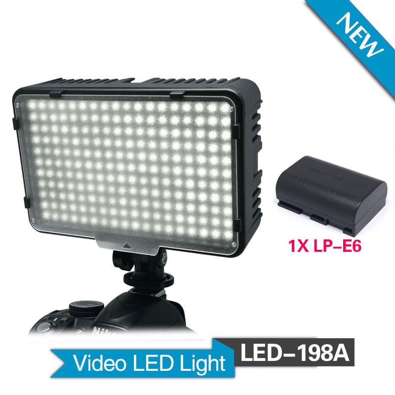 Mcoplus 198A LED with 1 pcs LP-E6 battery for DV Camcorder & Canon Nikon Pentax Sony Panasonic Olympus Digital SLR Cameras led телевизор panasonic tx 43dr300zz